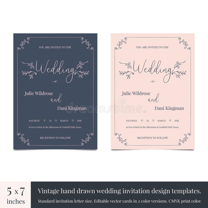 Нарисованный рукой шаблон дизайна приглашений свадьбы doodle Вручите вычерченный дизайн карточки свадьбы приглашений с годом сбор иллюстрация штока