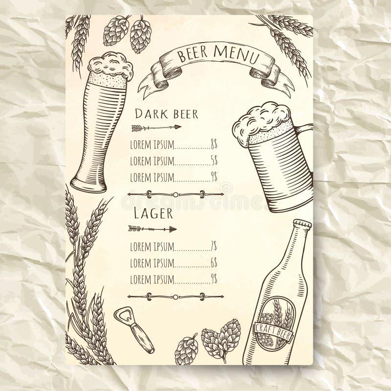 Нарисованный рукой шаблон меню пива иллюстрация вектора