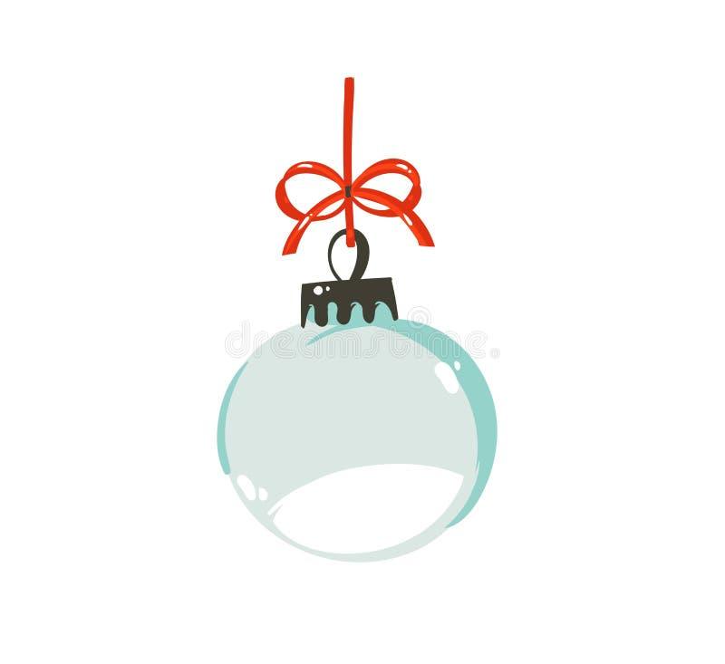 Нарисованный рукой шаржа времени вектора элемент дизайна иллюстрации с Рождеством Христовым графический с глобусом снега дерева x иллюстрация вектора