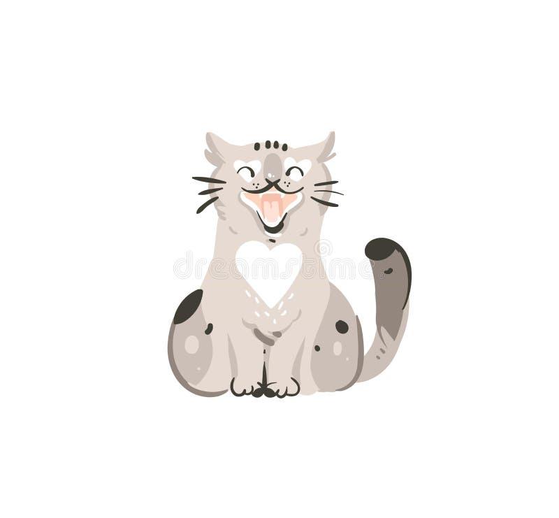 Нарисованный рукой шаржа doodle конспекта вектора значок иллюстрации графического простой с котом милой смешной отечественной вес иллюстрация штока