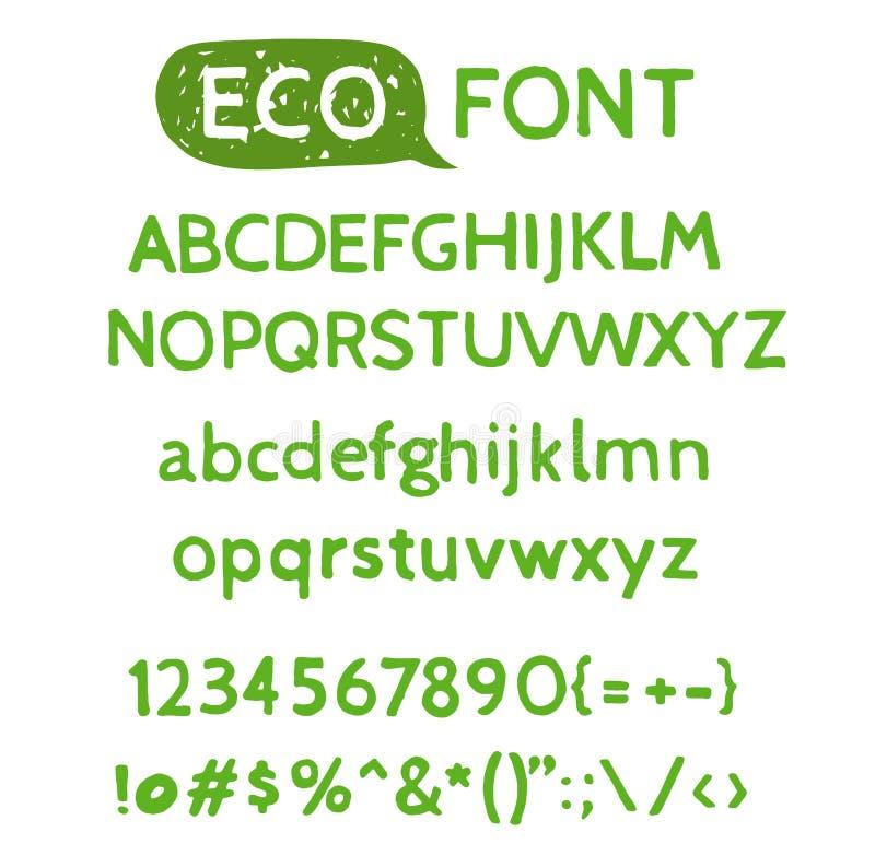 Нарисованный рукой шрифт зеленого цвета акварели естественный иллюстрация вектора
