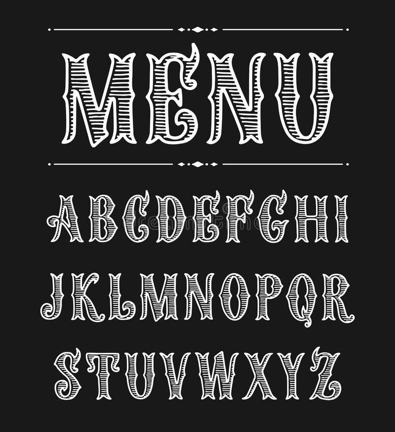 Нарисованный рукой шрифт ярлыка для дизайна в винтажном стиле иллюстрация штока