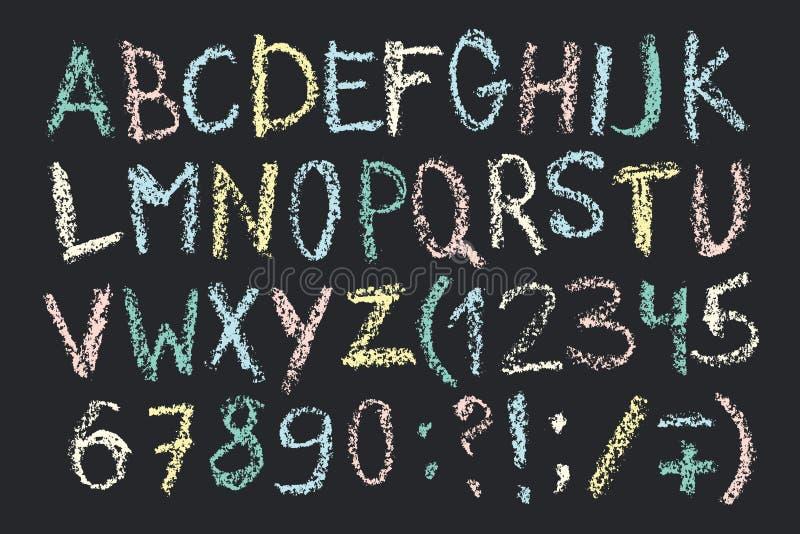 Нарисованный рукой шрифт crayon воска Рукописный алфавит в стиле доски мела Современная литерность в векторе Handmade grunge смел бесплатная иллюстрация