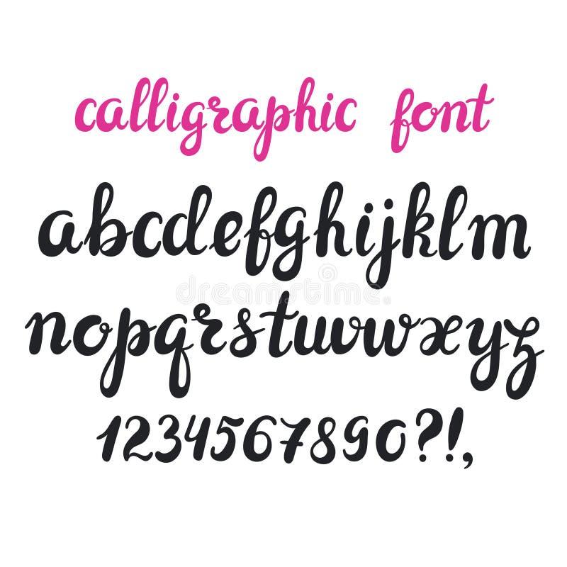 Нарисованный рукой шрифт cursive каллиграфии ручки щетки иллюстрация вектора