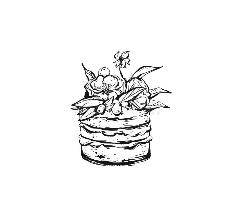 Нарисованный рукой элемент графического дизайна конспекта вектора грубый freehand с щеткой чернил покрасил иллюстрацию торта праз бесплатная иллюстрация