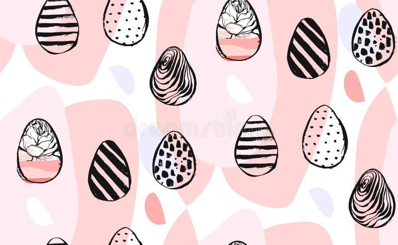 Нарисованный рукой элемент дизайна картины пасхи конспекта вектора творческий всеобщий счастливый безшовный с пасхальными яйцами  иллюстрация штока