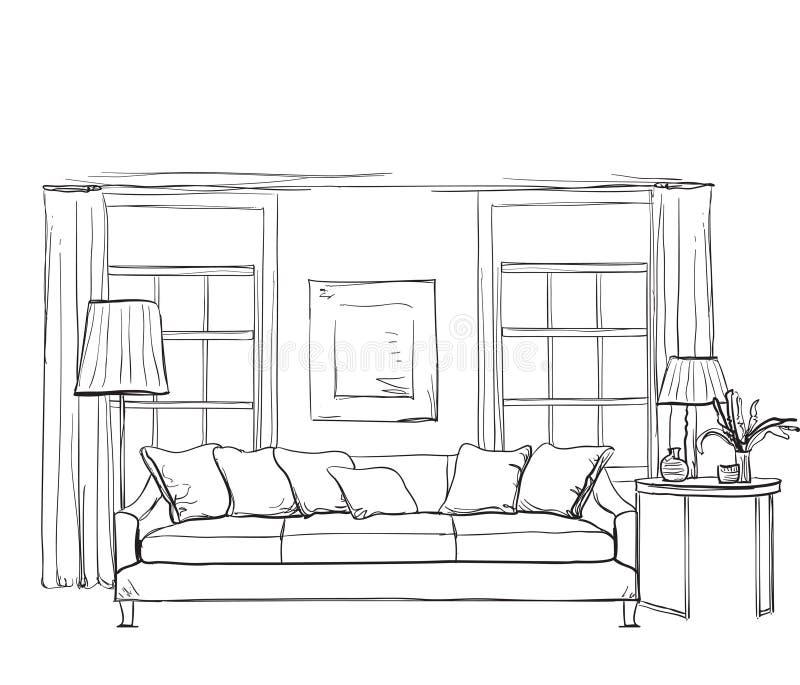 Нарисованный рукой эскиз интерьера комнаты стоковая фотография rf
