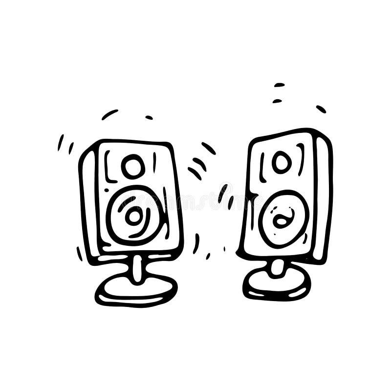 Нарисованный рукой ядровый значок doodle дикторов Эскиз нарисованный рукой черный бесплатная иллюстрация