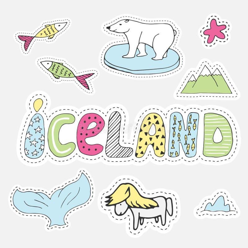 Нарисованный рукой ярлык иллюстрации Исландии шаржа установленный в стиле заплаты Вышивка, стикер или штырь бесплатная иллюстрация