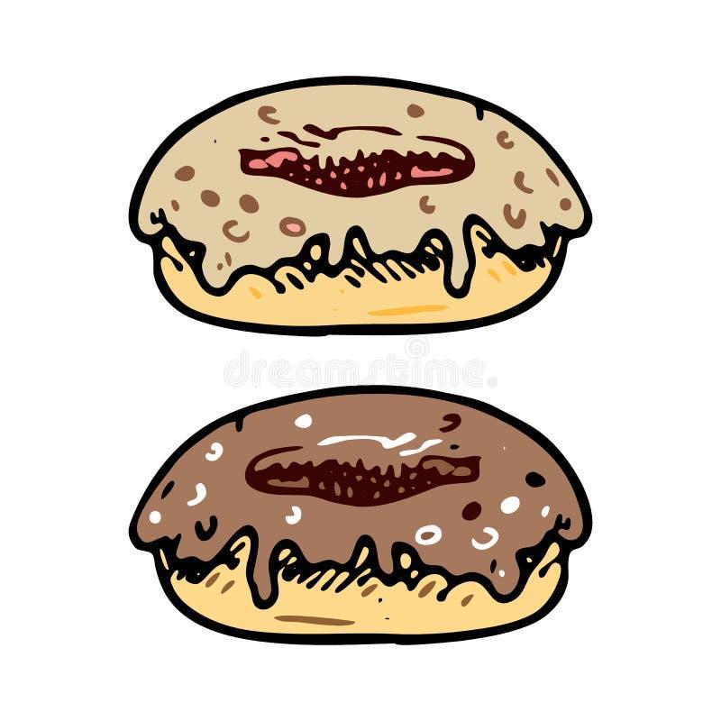 Нарисованный рукой doodle донута Еда эскиза цвета и питье, значок deco иллюстрация штока