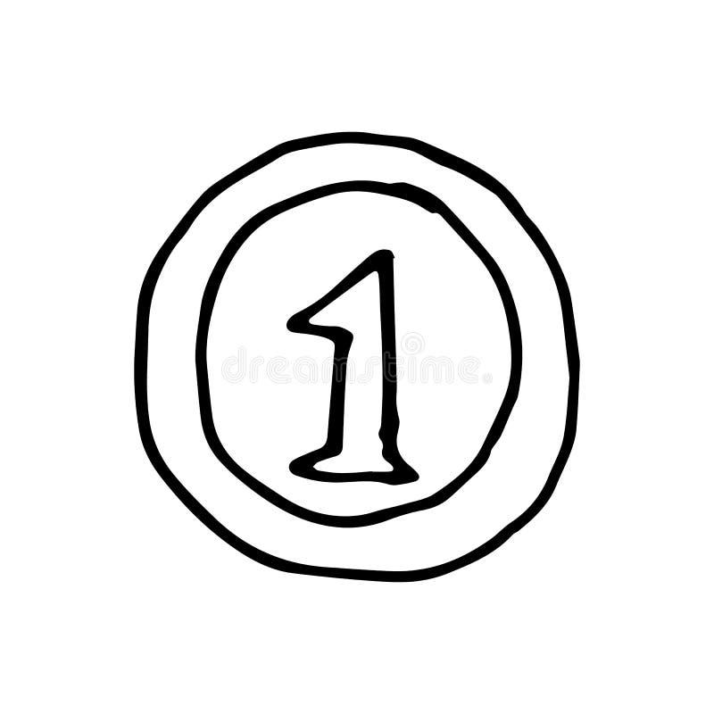 Нарисованный рукой doodle монетки Значок стиля эскиза Элемент украшения I иллюстрация штока
