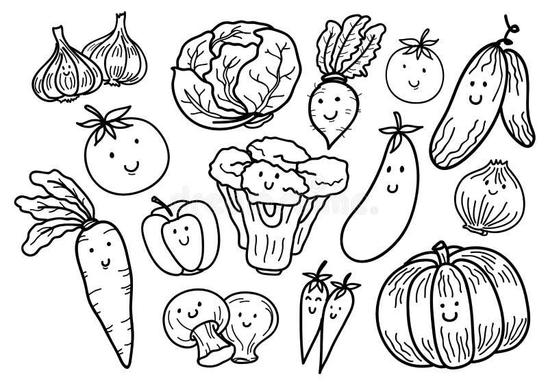 Нарисованный рукой doodle овощей стоковое изображение rf