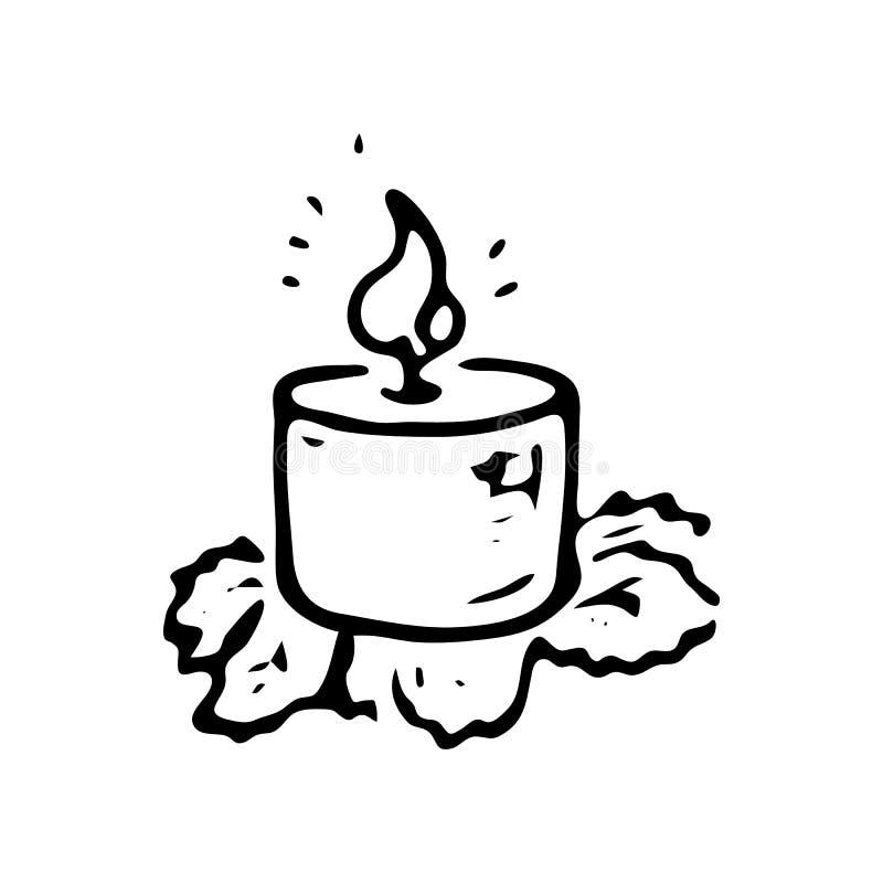 Нарисованный рукой doodle свечи Значок зимы эскиза Элемент украшения белизна изолированная предпосылкой также вектор иллюстрации  бесплатная иллюстрация