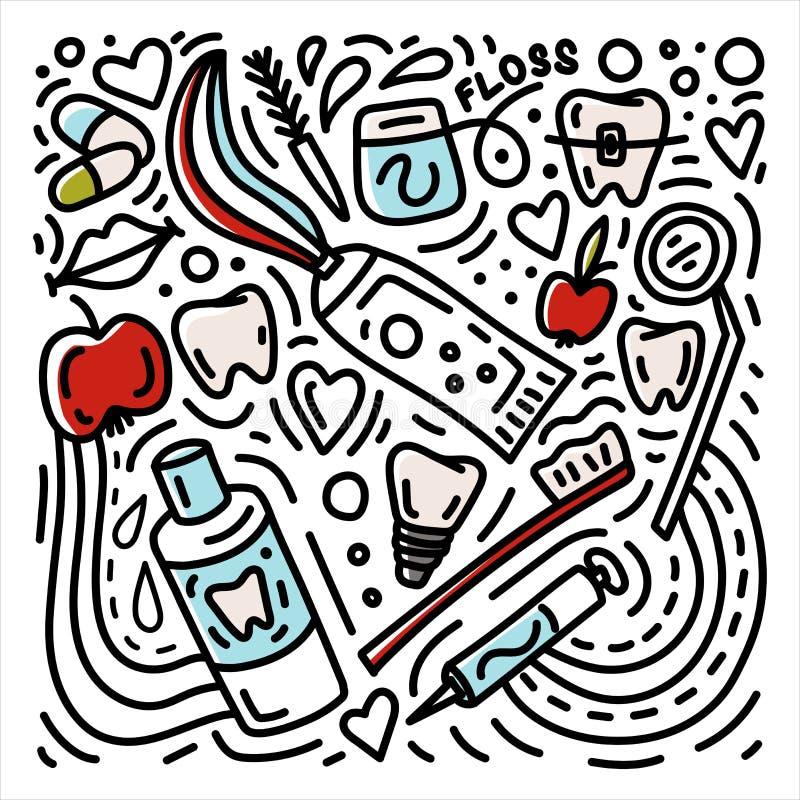 Нарисованный рукой doodle стоматологии Предпосылка зубоврачевания с расчалками, зубной щеткой, implant, яблоком etc иллюстрация штока
