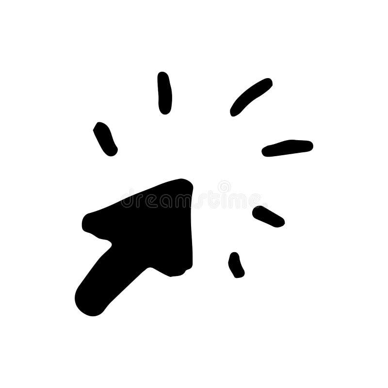 Нарисованный рукой doodle стрелки щелчка Значок стиля эскиза Украшение Ele бесплатная иллюстрация