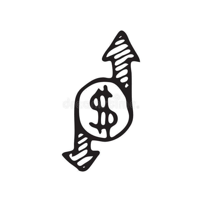 Нарисованный рукой doodle стрелок монетки Значок доллара эскиза Украшение el иллюстрация вектора