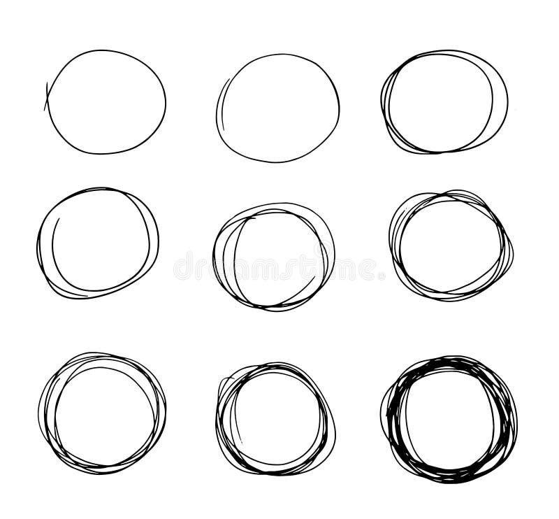 Нарисованный рукой doodle эскиза круга установленный Линия вектор карандаша Линия нарисованная рукой круга комплект эскиза Doodle бесплатная иллюстрация