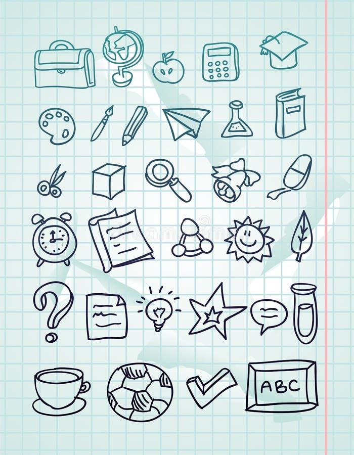 нарисованный doodles комплект школы иконы руки иллюстрация вектора
