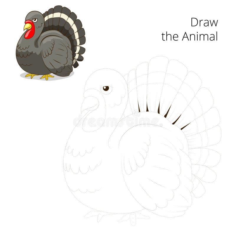 Нарисуйте вектор игры животного индюка воспитательный бесплатная иллюстрация