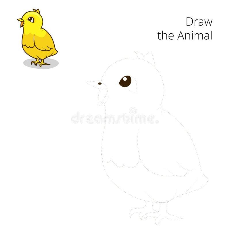 Нарисуйте вектор игры животного цыпленка воспитательный иллюстрация штока
