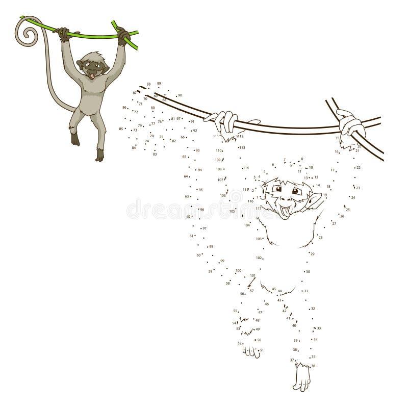 Нарисуйте вектор игры животной обезьяны воспитательный иллюстрация вектора