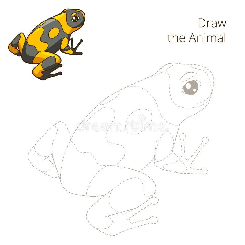 Нарисуйте вектор игры животной лягушки воспитательный иллюстрация штока