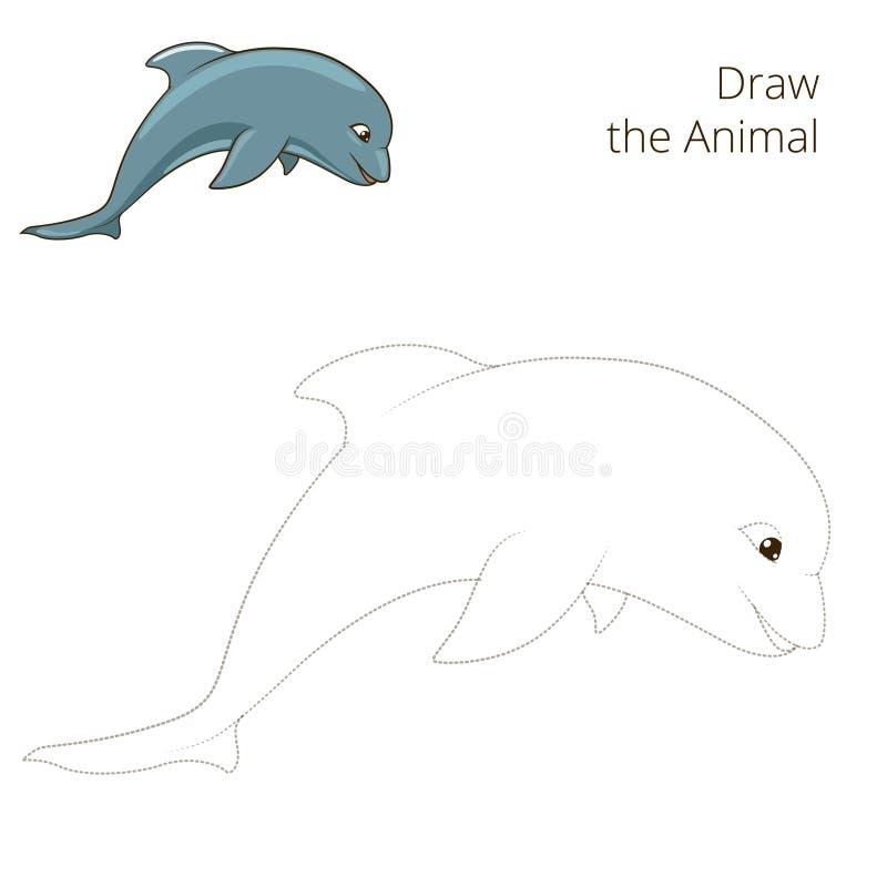 Нарисуйте игру животного дельфина рыб воспитательную бесплатная иллюстрация