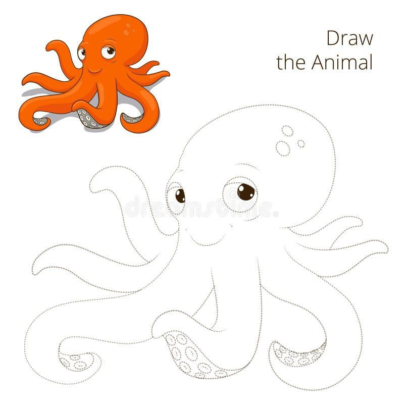 Нарисуйте игру животного осьминога рыб воспитательную иллюстрация вектора