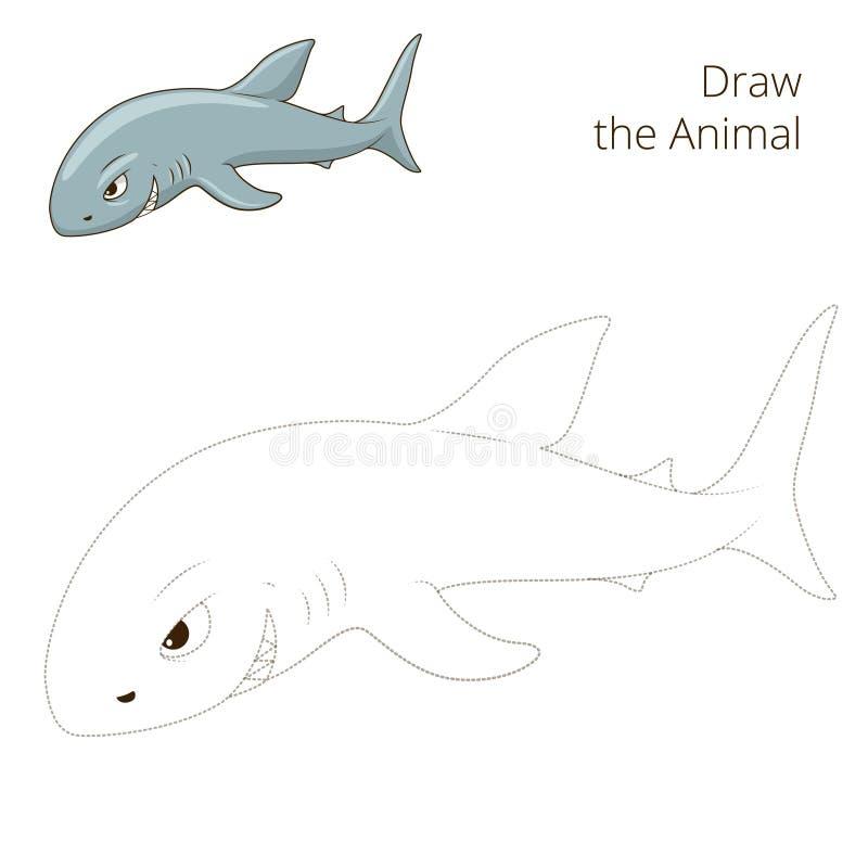 Нарисуйте игру животной акулы рыб воспитательную бесплатная иллюстрация