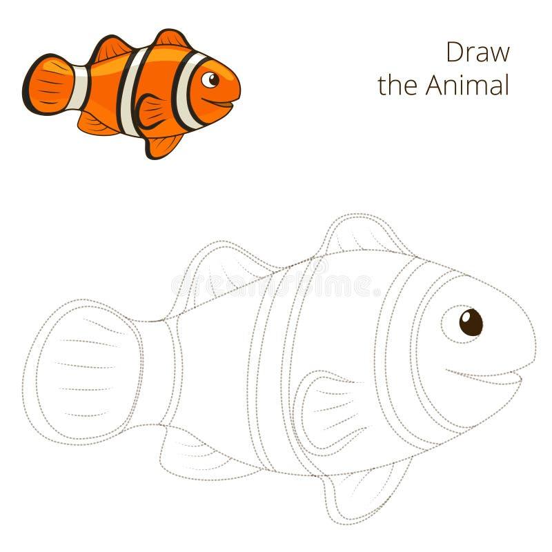 Нарисуйте игру животных clownfish рыб воспитательную иллюстрация вектора
