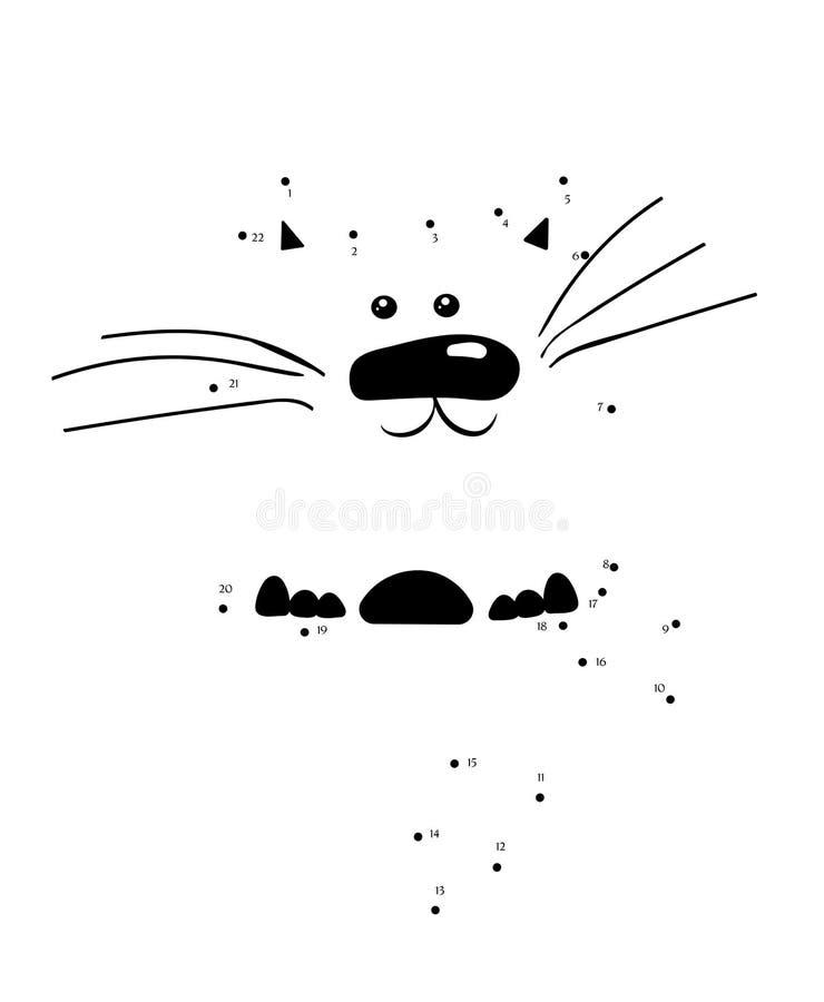 Нарисуйте кота для того чтобы соединить точки Характер котенка мультфильма для воспитательной игры для детей также вектор иллюстр бесплатная иллюстрация