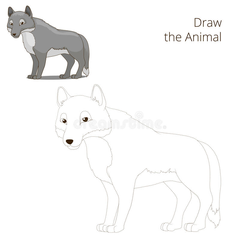 Нарисуйте шарж волка леса животный иллюстрация штока