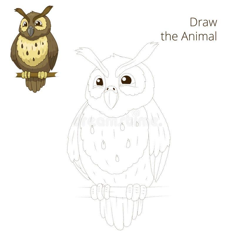 Нарисуйте шарж сыча птицы леса животный иллюстрация штока