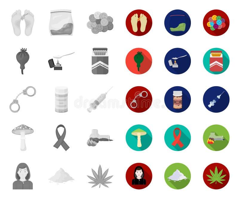 Наркомания и атрибуты mono, плоские значки в установленном собрании для дизайна Сеть запаса символа вектора наркомана и лекарства иллюстрация вектора