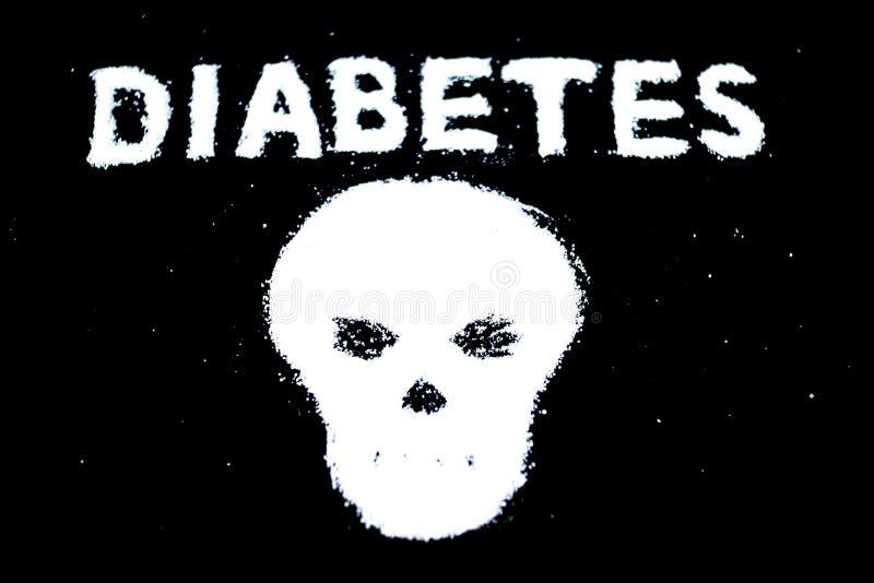 Наркомания сахара предложила разлитыми кристаллами белого сахара формируя череп Концепция сахарного диабета стоковое фото
