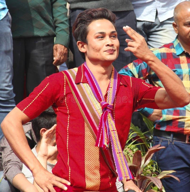 Народный танец Асома, Индии стоковые фотографии rf