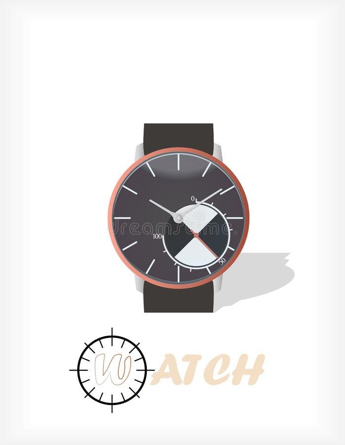Наручные часы изолированные на белой предпосылке Иллюстрация вахты Изображение вахты Иллюстрация стороны вахты бесплатная иллюстрация