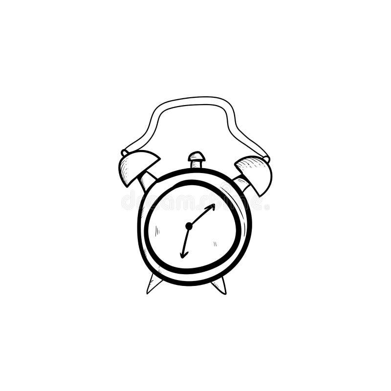 Наручные часы руки сигнала тревоги вычерченные, дозоры эскиза doodle, будильники и набор часов бесплатная иллюстрация