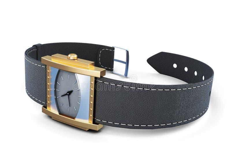 Наручные часы с черным ремнем на белой предпосылке перевод 3d иллюстрация вектора