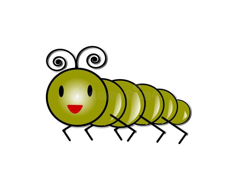 Насекомое зеленой гусеницы насекомого гусеницы милой милое иллюстрация вектора