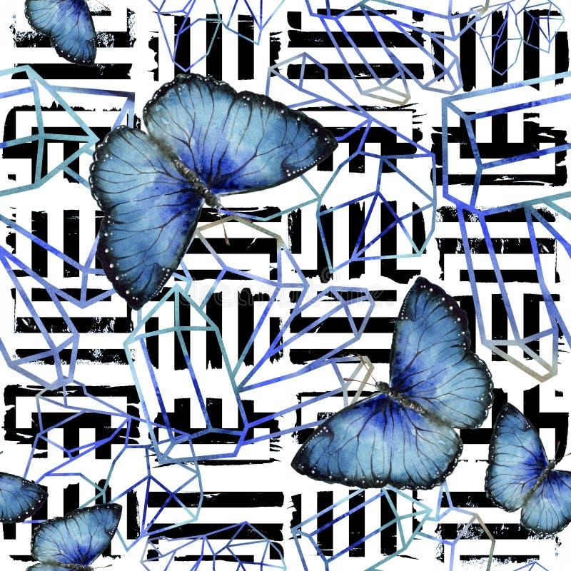 Насекомое экзотических бабочек одичалое в стиле акварели Безшовная картина предпосылки иллюстрация вектора