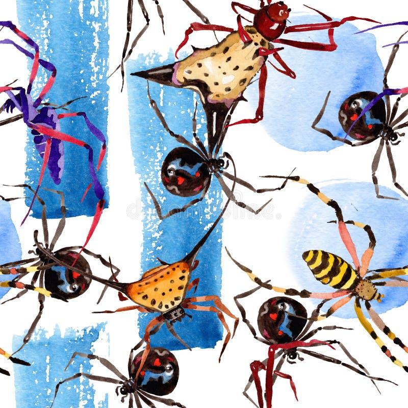 Насекомое экзотических пауков одичалое в стиле акварели Безшовная картина предпосылки бесплатная иллюстрация