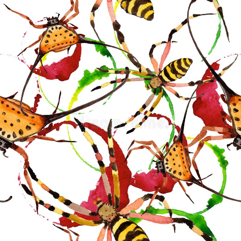 Насекомое экзотических пауков одичалое в стиле акварели Безшовная картина предпосылки иллюстрация вектора