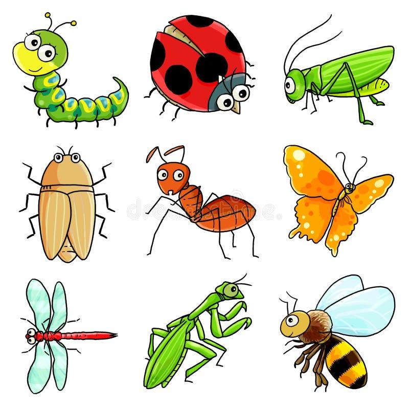 насекомое 9 икон иллюстрация вектора