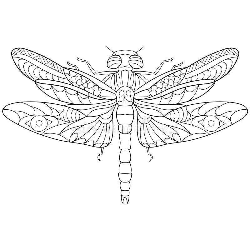 Насекомое dragonfly Zentangle стилизованное иллюстрация вектора