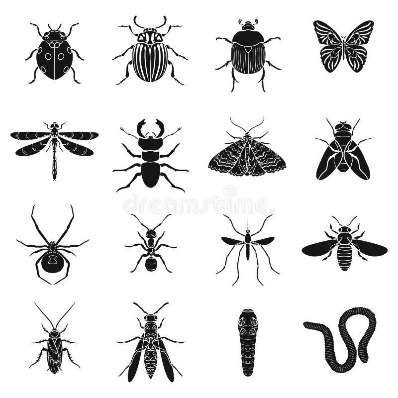 Насекомые установили значки в черном стиле Большое собрание иллюстрации запаса символа вектора насекомых бесплатная иллюстрация