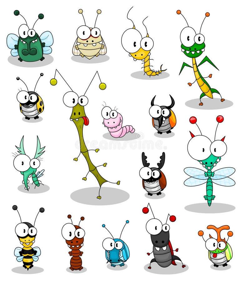 насекомые шаржа иллюстрация вектора