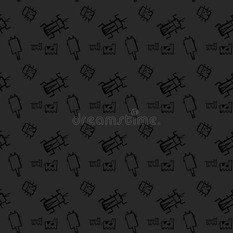 Насекомые doodle безшовная картина, предпосылка с ошибкой, мухой, бабочкой, ladybug, dragonfly, осой, предпосылкой черноты стонож иллюстрация вектора
