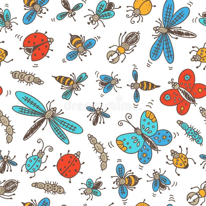 Насекомые doodle картина иллюстрация штока