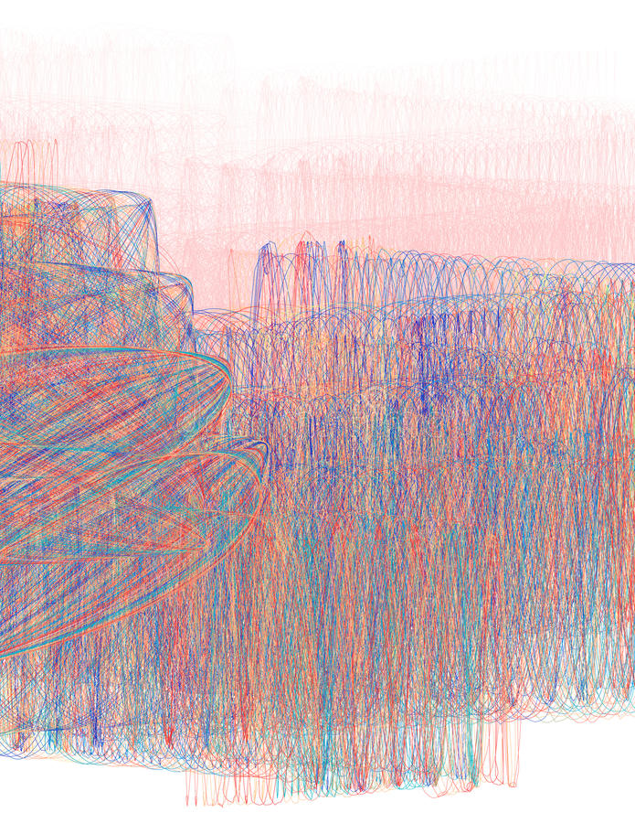 Насиживать покрашенные тонкие линии на розовой предпосылке Тонкий вектор иллюстрация штока